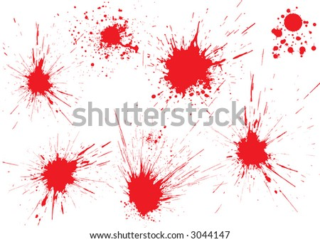 Red blood drops on white surface. Shot from gun. Vector illustration - stock vector