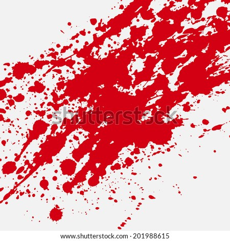 Red bloody blots and splatters of paint - stock vector