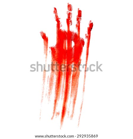 Red bloody handprint on a white background - stock vector