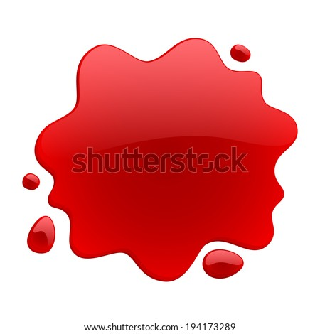 Red blotch isolated on white background. Paint or juice spot. - stock vector