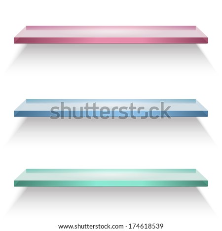 Red, blue and green glass shelves isolated on white background - stock vector