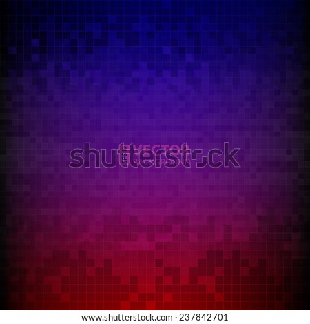 Red, blue and purple pixelated digital background. RGB EPS 10 vector illustration - stock vector