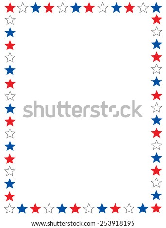Red blue and white stars 4th of July border / frame - stock vector