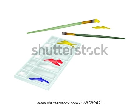 Red, Blue and Yellow Color Paint in Rectangle Art Palette With A Craft Paintbrushes or Artist Brushes for Draw and Paint A Picture.  - stock vector