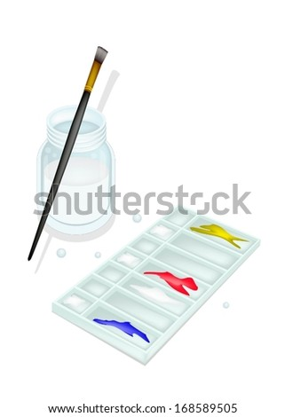 Red, Blue and Yellow Color Paint in Rectangle Plastic Art Palette With A Craft Paintbrushes or Artist Brushes and Glass Jar for Draw and Paint A Picture.  - stock vector