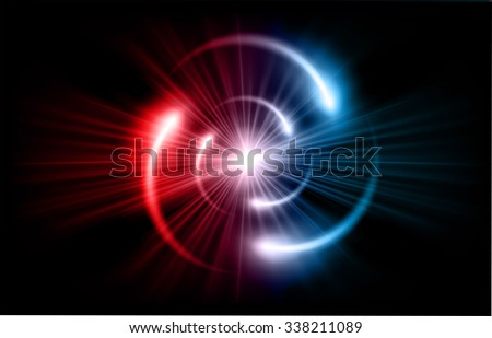 red blue Shining atom scheme. Vector illustration. dark background. digital. infographics. Abstract Technology background for computer graphic website internet and business. circuit. - stock vector