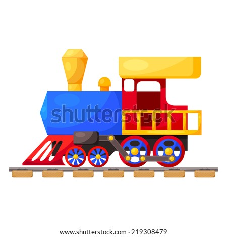 Red blue train on the railroad isolated on white background. Cartoon. Vector illustration.  - stock vector
