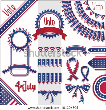 red blue white colors design decoration set. No fonts were used. - stock vector