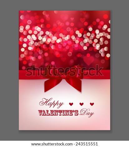 Red blurred background with sparkles. Valentines Day background. Greeting card  Design with red bow and lights. Vector template of invitation, flyer, poster or greeting card. - stock vector