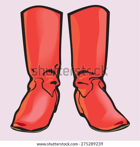Red boots. Vector