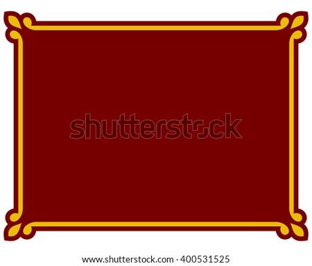 Red border frame deco plaque. Vector art simple line corner - stock vector