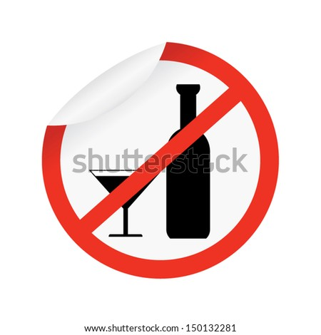 Red Border Plate For No Alcohol Sign Isolated on White Background  - stock vector