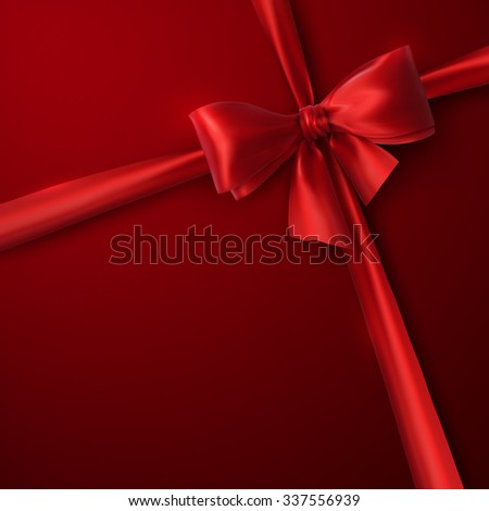 Red Bow And Ribbon. Vector Holiday Illustration. Decoration Element For Design  - stock vector