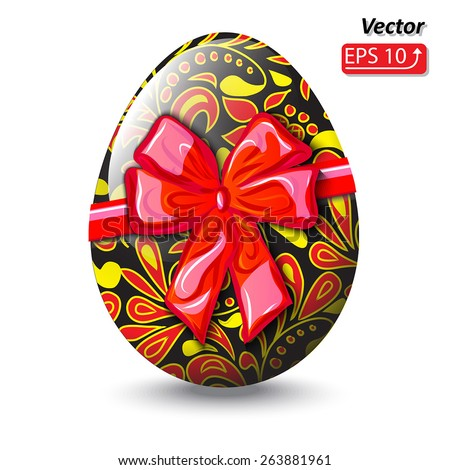 red bow, black  easter egg, red yellow floral pattern, isolated on a white background vector illustration