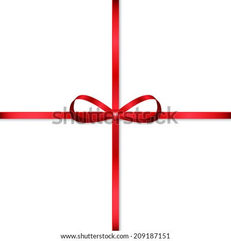 Red bow for decorating gifts isolated on white background - stock vector