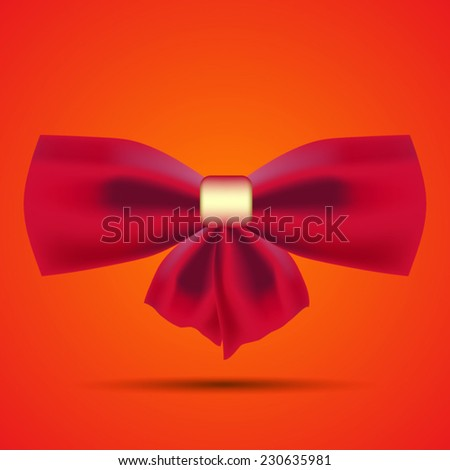 red bow for decoration of gifts - stock vector