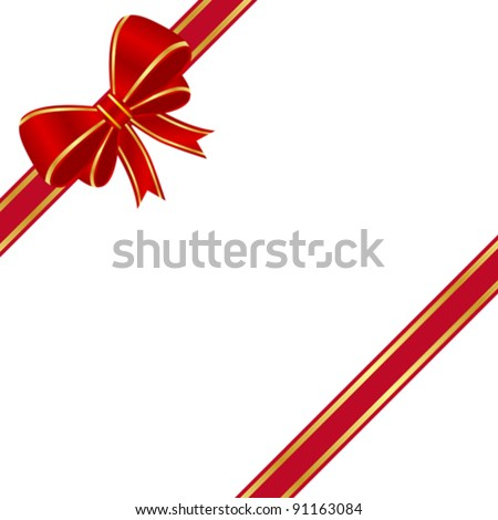 Red bow isolate on white background - stock vector
