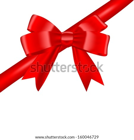 Red bow isolated on white background - stock vector