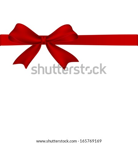 Red bow isolated on white background. Vector illustration - stock vector
