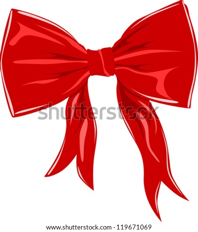 Red bow isolated on white, vector illustration