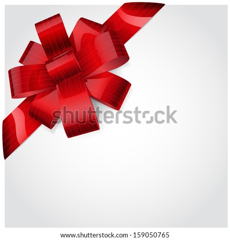 Red bow made of shiny striped ribbon. Decoration for a gift. - stock vector