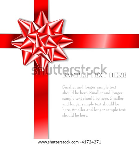 Red bow on a red ribbon with white background - vector Christmas card