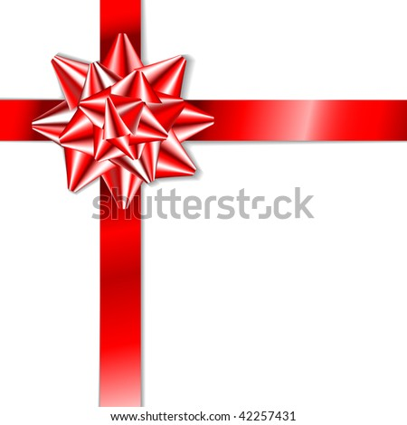 Red bow on a red ribbon with white background - vector Christmas card (no text) - stock vector