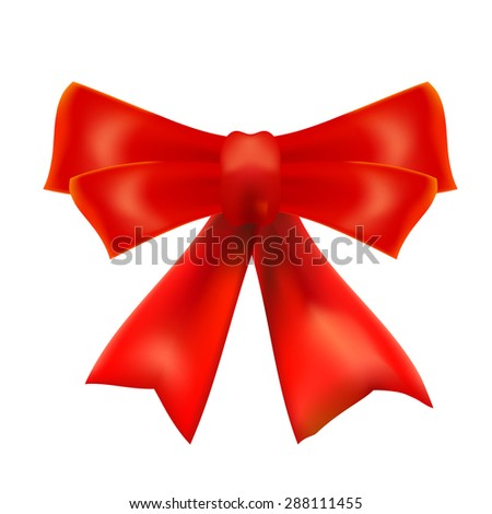 Red bow on a white background. Design element. Vector illustration - stock vector