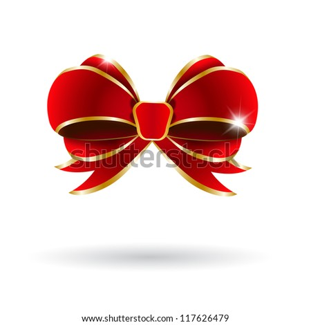 Red bow on a white background. Vector illustration - stock vector