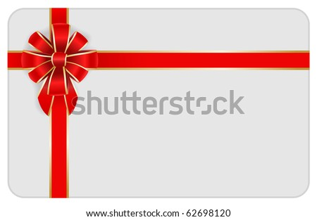 red bow with card - stock vector