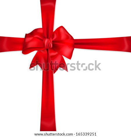 Red bow with crosswise ribbons - stock vector