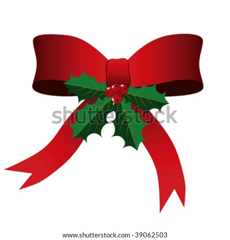 Red Bow with Green Holly Leaves and Berries against a white background. - stock vector