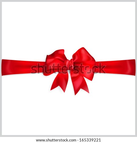 Red bow with horizontal ribbon - stock vector