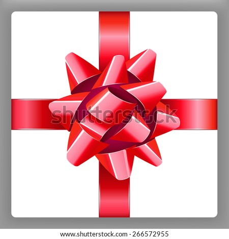 Red bow with ribbon vector holiday present 10eps - stock vector