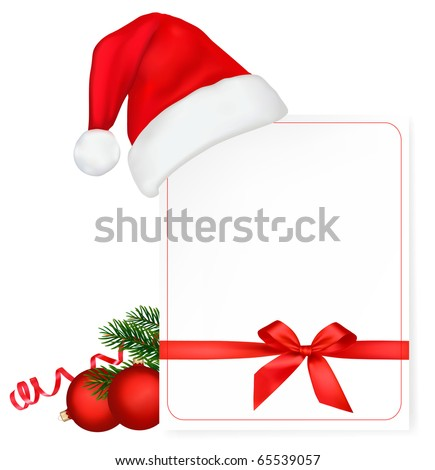 Red bow with ribbons and Santa hat. Vector. - stock vector