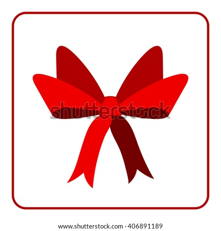 Red bow with ribbons icon. Flat design sign, isolated on white background. Decoration art object for christmas, present, holiday. Design element. Symbol of celebration, surprise. Vector illustration. - stock vector