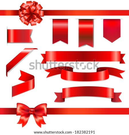 Red Bow With Ribbons Set, With Gradient Mesh, Vector Illustration - stock vector