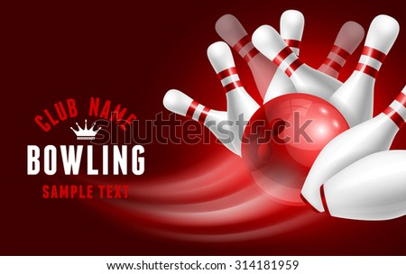 Red bowling ball crashing into the white glossy skittles. Vector illustration on sport bowling theme. - stock vector