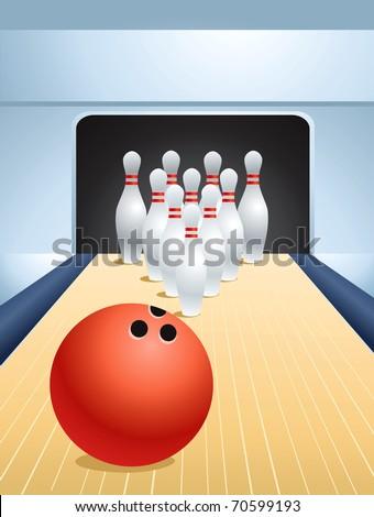 Red bowling ball smashing pins - stock vector