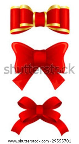 Red bows - stock vector