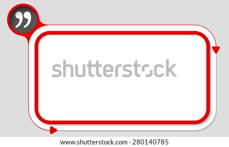 Red box for your text and quotation mark - stock vector