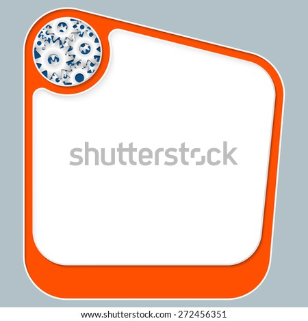 Red box for your text with white frame and cogwheels - stock vector
