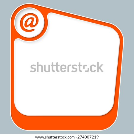 Red box for your text with white frame and email icon - stock vector