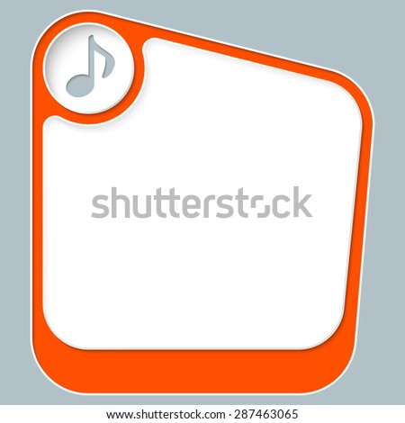 Red box for your text with white frame and music icon - stock vector
