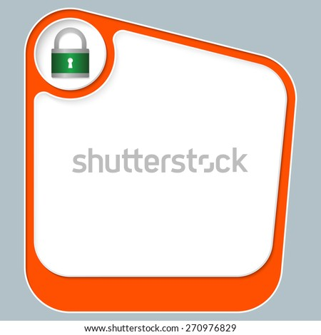 Red box for your text with white frame and padlock icon - stock vector