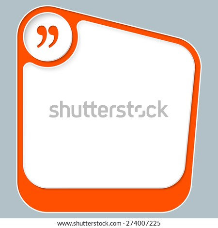 Red box for your text with white frame and quotation mark - stock vector