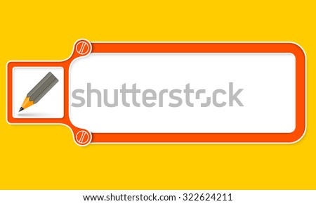 Red box with white frame for your text and pencil - stock vector
