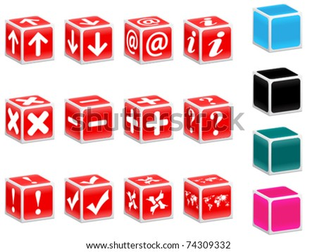 red boxes with web icons - stock vector