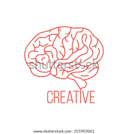red brain like creative ideas. concept of thinking, artwork, success, brainstorming, nervous, psychology. isolated on white background. flat style trendy modern logotype design vector illustration - stock vector