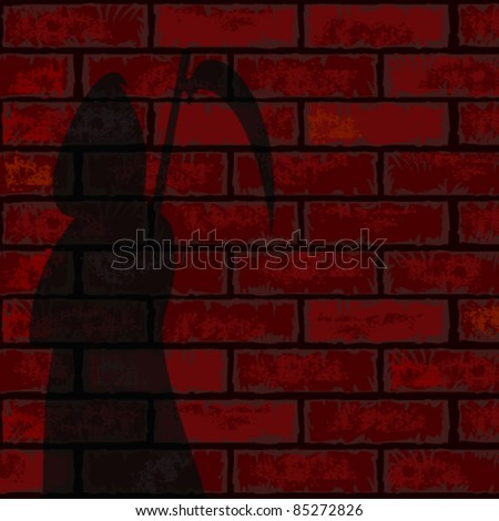 Red brick wall and death - stock vector
